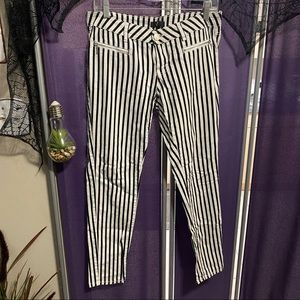 G21 Black and White Striped Jeans
